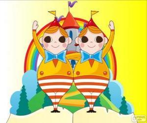 puzzel Tweedledum en Tweedledee, twee jonge Tweelingen