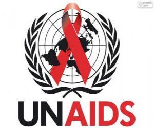 puzzel UNAIDS logo. Gemeenschappelijke VN-Programma voor HIV / AIDS