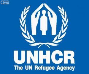 puzzel UNHCR-logo, de Verenigde Naties Hoge Commissaris voor de Vluchtelingen