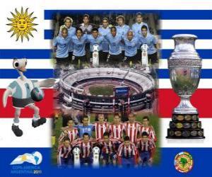 puzzel Uruguay vs Paraguay. Finale Copa America Argentinië 2011. 24 juli Stadion Monumental, Buenos Aires