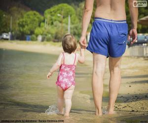 puzzel Vader en dochter op het strand