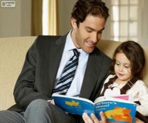 puzzel Vader helpen lezing aan zijn dochter