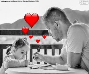 puzzel Vader schilderen met zijn dochter