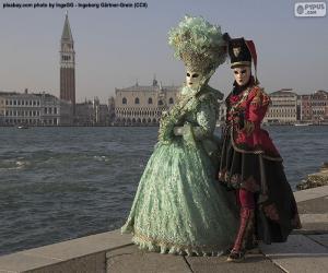 puzzel Venetië Carnaval Paar