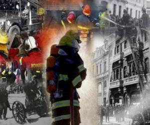 puzzel Verschillende foto's van de brandweer