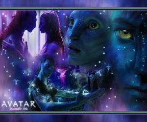 puzzel Verschillende foto's van Jake en na'vi avatar Neytiri