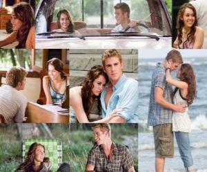 puzzel Verschillende foto's van Miley Cyrus en Liam Hemsworth in zijn laatste film, The Last Song.