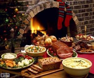 puzzel Verschillende gerechten voor Kerstmis