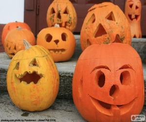 puzzel Verschillende Halloween pompoenen