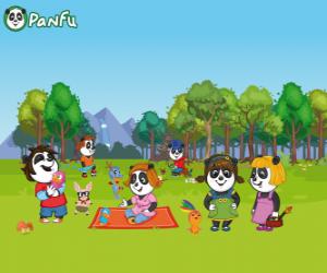 puzzel Verschillende jonge Panfu Panda's in het park