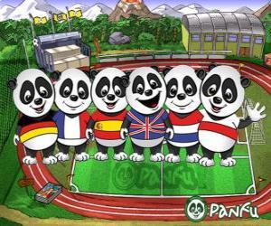 puzzel Verschillende Panfu panda T-shirts van een aantal nationale teams