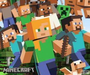 puzzel Verschillende personages uit Minecraft