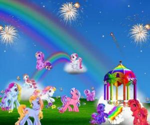 puzzel Verschillende pony's in een viering
