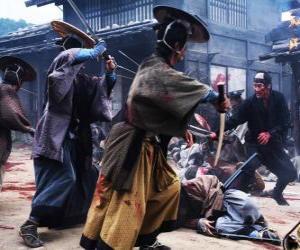 puzzel Verschillende samurai vechten