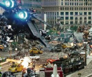 puzzel Verschillende Transformers vechten in de stad