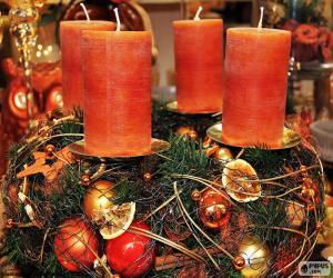 puzzel Vier kaarsen in een centrum