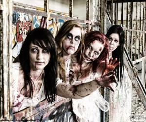 puzzel Vier zombies Halloween