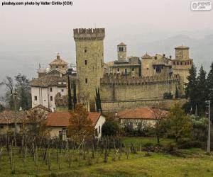 puzzel Vigoleno kasteel, Italië