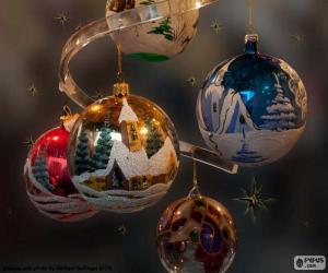 puzzel Vijf ballen kerst