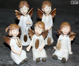 puzzel Vijf Kerst engelen