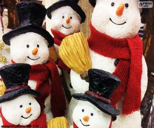 puzzel Vijf sneeuwpoppen