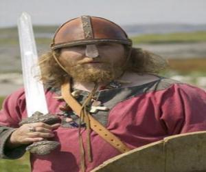 puzzel Viking gewapend met een zwaard en een schild