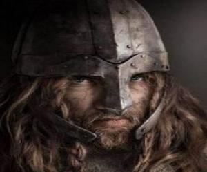 puzzel Viking gezicht met snor en baard en een helm