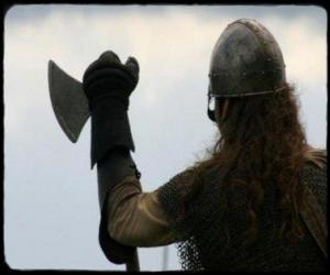 puzzel Viking kijken gewapend met een bijl