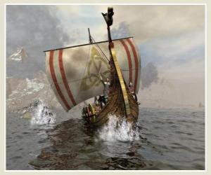 puzzel Viking schip of aan longship gezwollen zeil door de wind