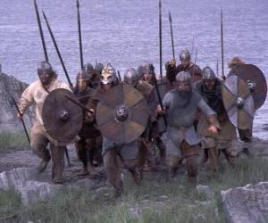 puzzel Vikingen uitstappen van zijn boot volledig gewapend en met het schild en de lans in de handen