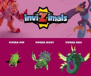 puzzel Vipera in drie fasen Vipera Pup, Vipera Scott en Vipera Max, Invizimals