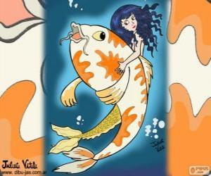 puzzel Vis en Mermaid, een tekening van Juliet