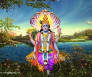 puzzel Vishnu, de beschermer god in de Trimurti