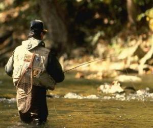 puzzel Vissers in de rivier actie