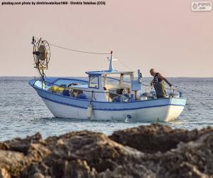 puzzel Vissersboot op zee