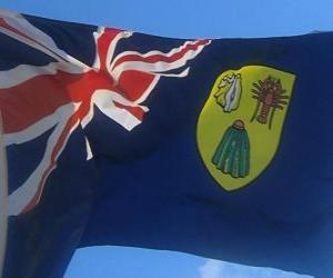 puzzel Vlag van de Turkse en Caicos eilanden