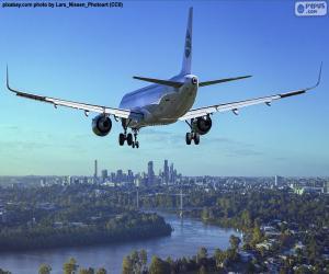 puzzel Vliegtuig aankomen op hun bestemming
