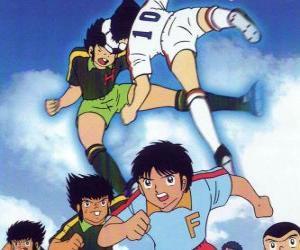 puzzel Voetballers in een voetbalwedstrijd van Captain Tsubasa