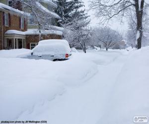 puzzel Volledig gesneeuwde straat