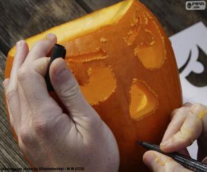 puzzel Voorbereiding van de pompoen van Halloween