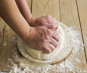 puzzel Voorbereiding van het deeg voor pizza