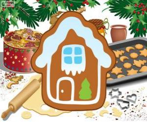 puzzel Vormgegeven Kerstmis biscuit huis