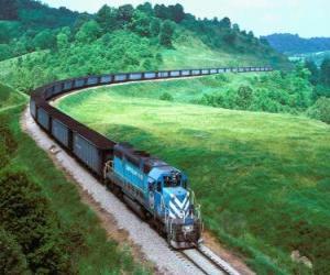 puzzel Vracht trein met veel auto's