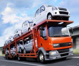 puzzel Vrachtwagen vervoer van auto's