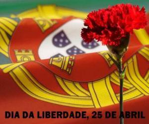 puzzel Vrijheids dag, 25 april uit tot nationale feestdag van Portugal herdenking van de Anjerrevolutie van 1974