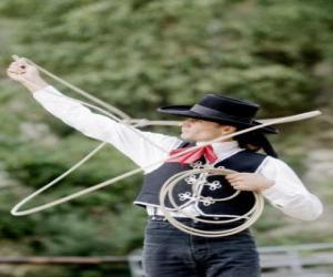 puzzel Vrouw cowboy de behandeling van de lasso