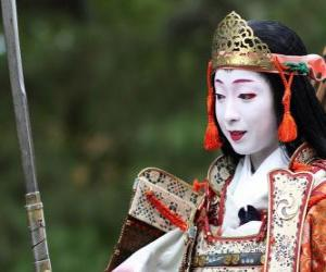puzzel Vrouwelijke samurai, strijder vrouw met katana