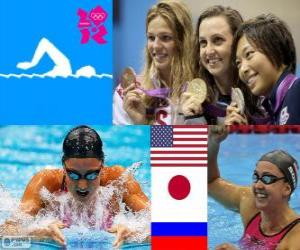 puzzel vrouwen 200 meter schoolslag podium, Rebecca Soni (Verenigde Staten), Satomi Suzuki (Japan), Joelia Jefimova (Rusland) - Londen 2012 - van zwemmen