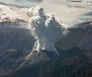 puzzel Vulkaan in uitbarsting