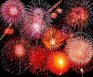 puzzel Vuurwerk in de viering van Oudejaarsavond